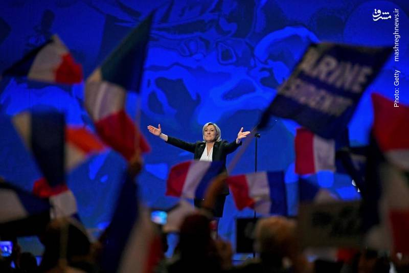قرارگرفتن مارین لوپن، نامزد ملیگرای فرانسه در انتخابات ریاستجمهوری آتی در صدر بسیاری از نظرسنجیها- گتیایمیجز