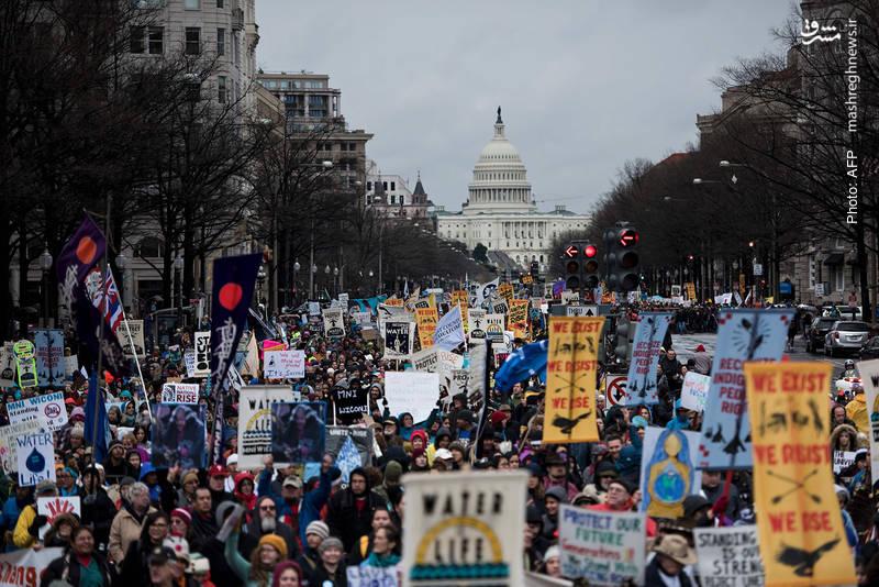 گردهمآیی چهارروزه معترضان به ازسرگیری پروژه خط لوله نفت داکوتا در واشینگتن- آژانس خبری فرانسه