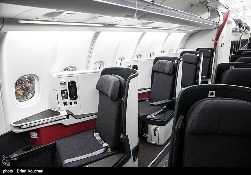 بخش فرست کلاس هواپیمای A330 ؛ دومین هواپیمای تحویلی ایرباس به ایران