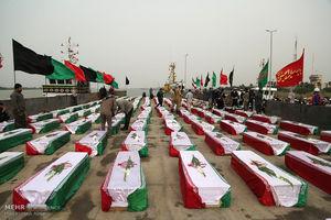 عکس/ ورود پیکر ۱۶۵ شهید دفاع مقدس به کشور