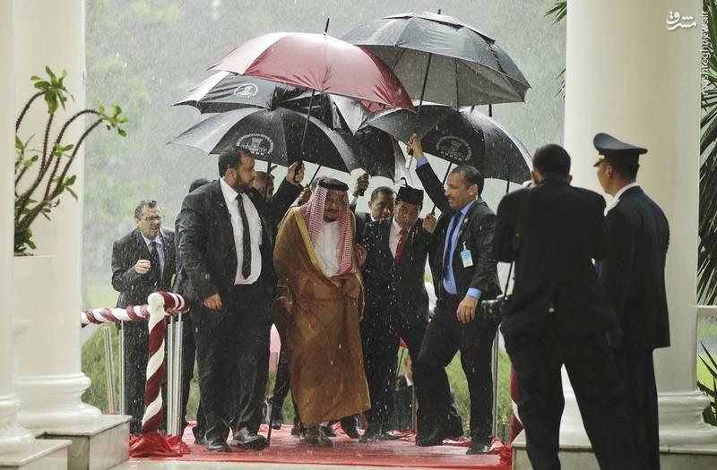 چتر رئیسجمهور اندونزی در دستان خودش و چترهای متعدد برای ملک سلمان در دستان محافظانش