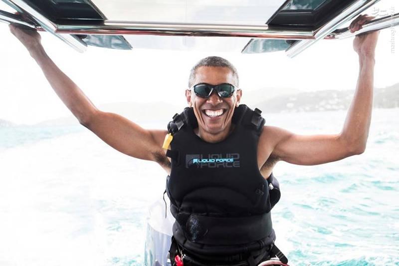 موجسواری باراک اوباما در جزیره اختصاصی خاندان برَنسِن در بریتانیا پس از پایان ریاستجمهوری