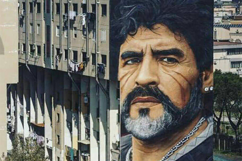 عکس/ نقاشی چهره مارادونا روی ساختمانی در نپال