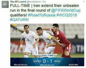 عکس/توییت AFC پس از پیروزی ایران