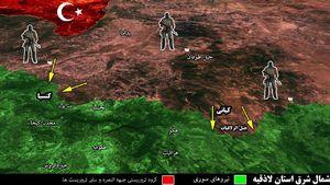 عملیات گسترده تروریستها در شمال شرق لاذقیه؛ انهدام دو خودرو حامل عناصر تروریستی در حومه شهرک کبانی +نقشه