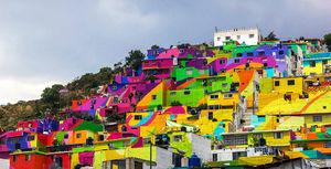 عکس/ شهر رنگین کمانی در مکزیک
