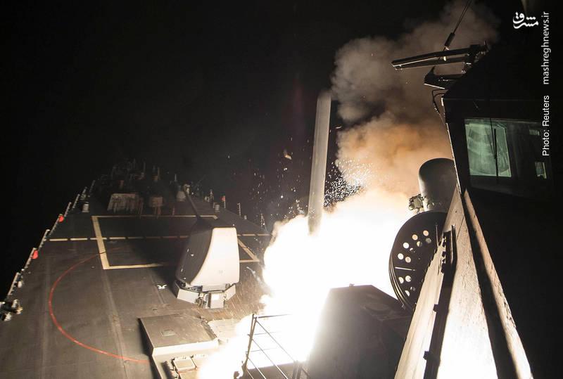 ناوشکن آمریکایی در مدیترانه در حال موشکباران پایگاه ارتش سوریه