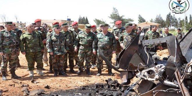 بازدید فرمانده ارتش سوریه از پايگاه هوایی الشعيرات