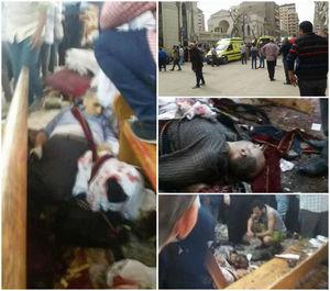 تصاویر اولیه از وقوع انفجار در نزدیکی کلیسایی در قاهره