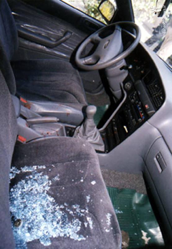 خودروی شهید صیاد دقایقی پس از ترور ایشان