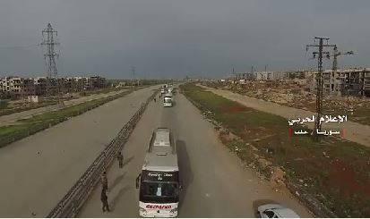 فیلم/ ورود کاروان «فوعه و کفریا» به شهر حلب