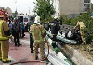 واژگونی پراید در بزرگراه شهید صیاد شیرازی +تصاویر