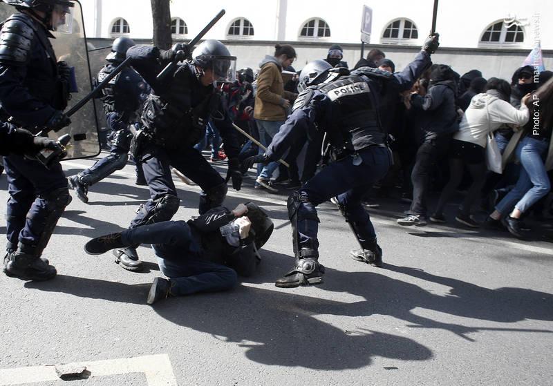 خشونت پلیس پاریس در تظاهرات روز جهانی کارگر
