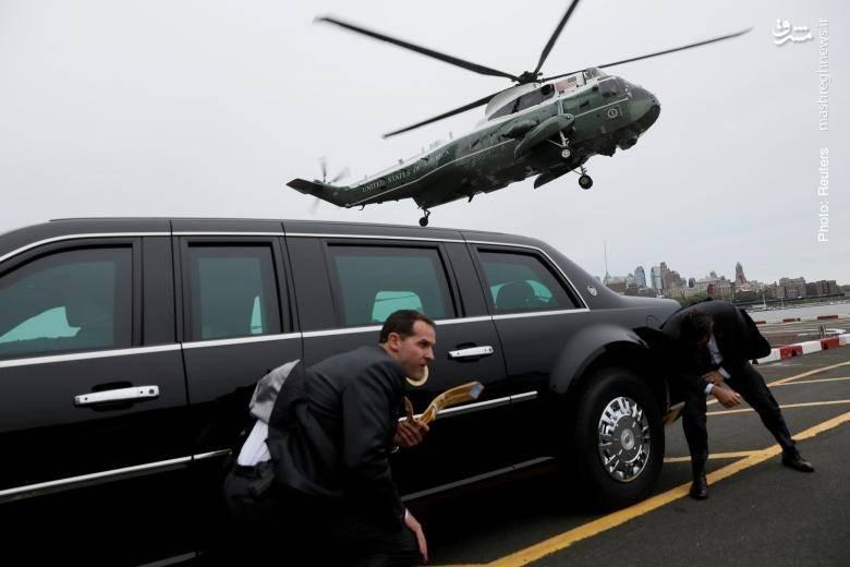 فرود بالگرد حامل ترامپ در نیویورک در کنار لیموزین رئیسجمهور