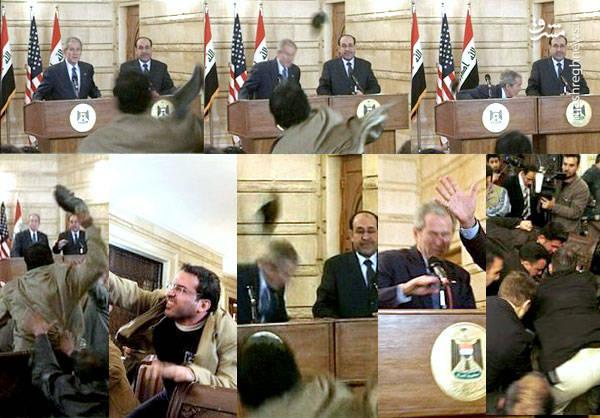 حمله یک عراقی به جرج بوش با لنگه کفش