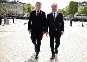 عکس/ قدمزدن رئیسجمهور قدیم و جدید فرانسه در کنار هم