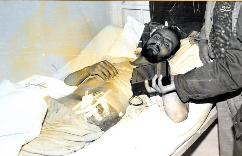 احمد بابایی، پس از مجروح شدن در جبهه ی «بازی دراز»