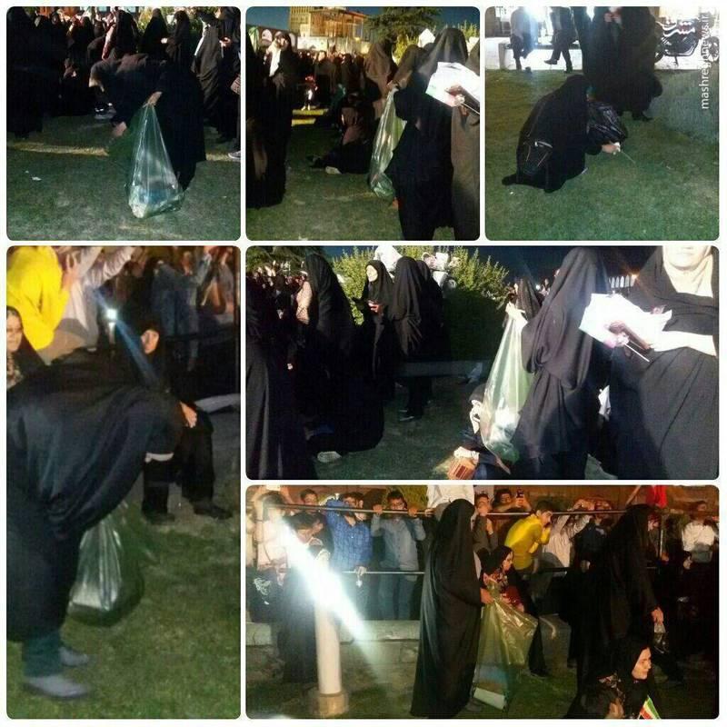 پاکسازی میدان امام بعد از سخنرانی رئیسی توسط مردم