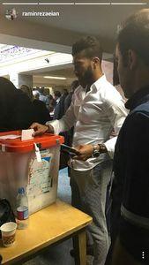 عکس/ حضور رضاییان در یکی از شعب اخذ رای