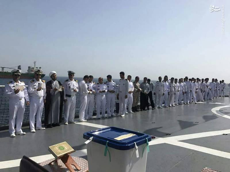 اخذ رای انتخابات ریاست جمهوری با حضور پرسنل نیروی دریایی در عمان
