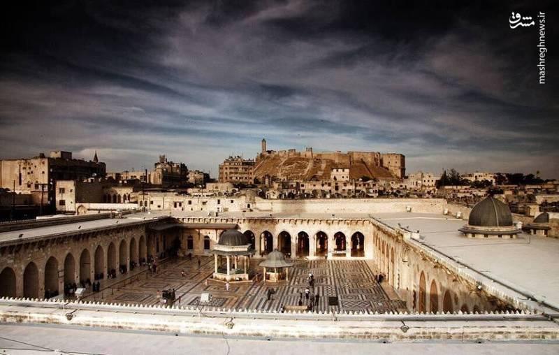 نمایی زیبا از مسجد اموی حلب پس از بازسازی اولیه