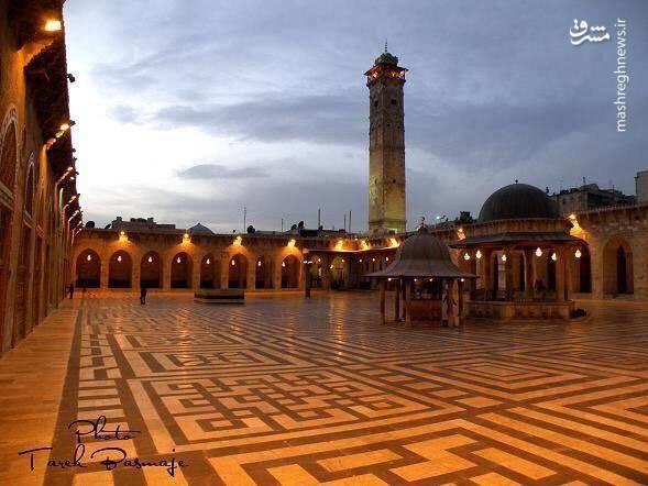 نمایی از مسجد اموی حلب پس از بازسازی اولیه