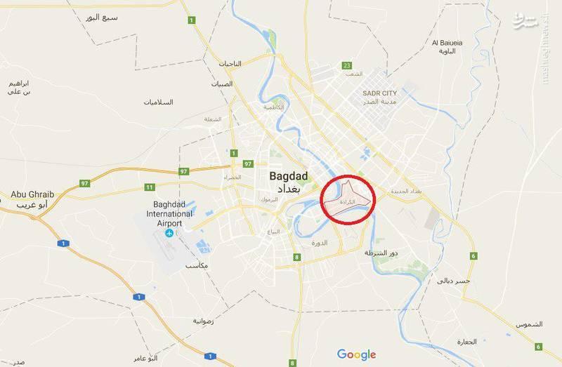 محل وقوع انفجار تروریستی در الکراده بغداد