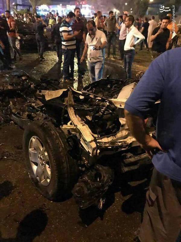 بقایای خودروی انتحاری در انفجار تروریستی الکراده بغداد