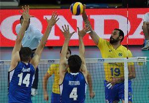 شکست ایتالیا مقابل برزیل در لیگ جهانی والیبال
