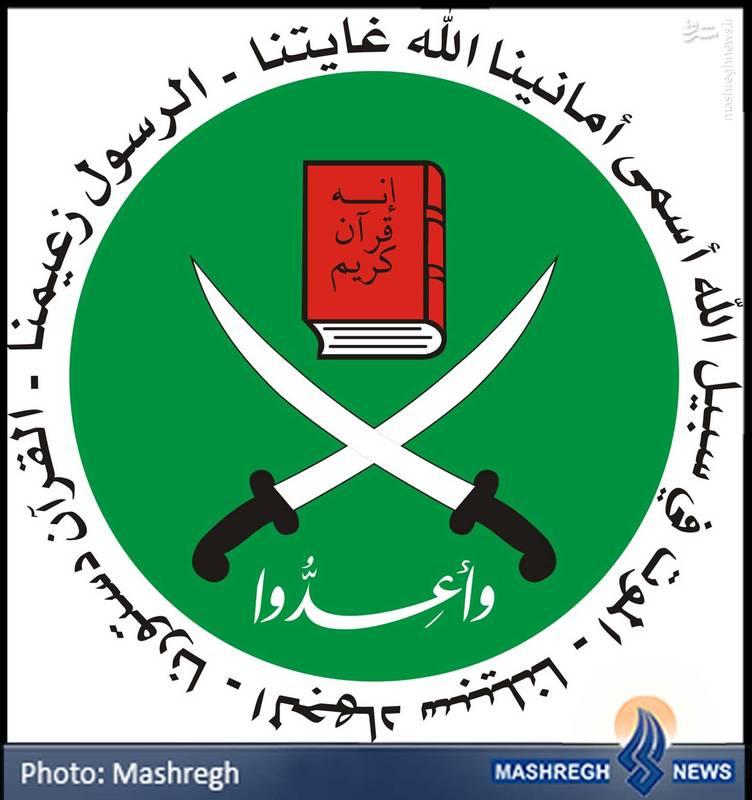 آرم جنبش «اخوان المسلمین» که در مصر، توسط «حسن البنا» پایه گذاری شد