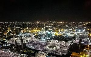 تصویر هوایی از مراسم احیاء در حرم امام رضا(ع)