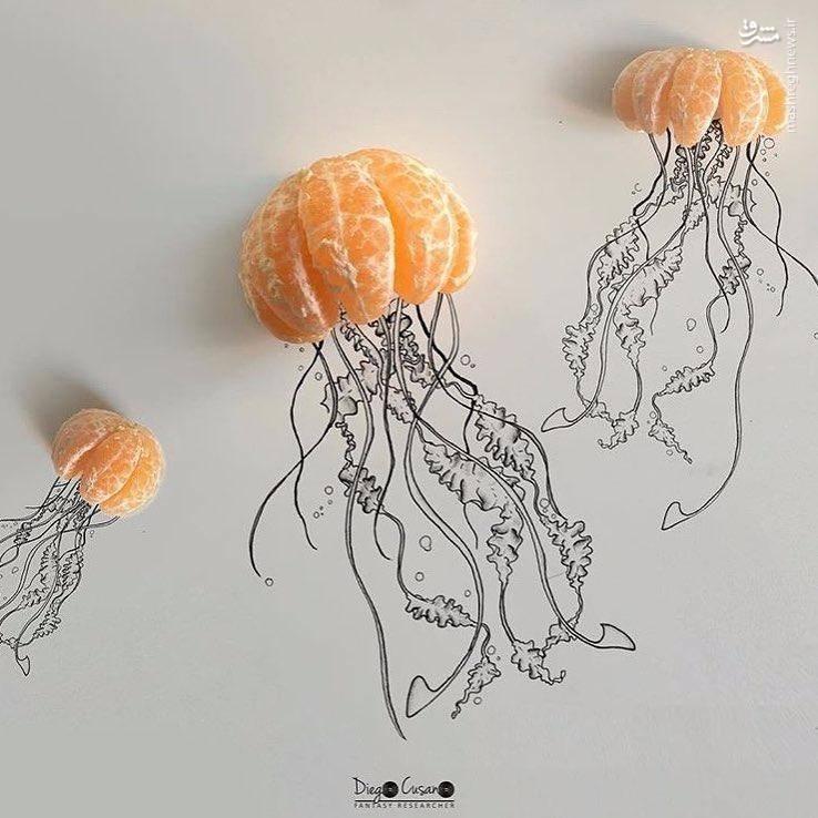 نقاشی هایی که با استفاده از مواد خوراکی کلاژ شده اند
