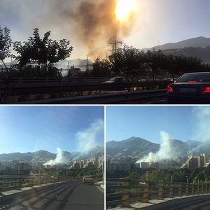 آتش سوزی گسترده در محله اوین تهران +عکس
