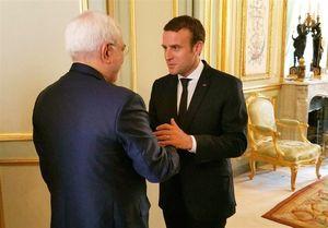 دیدار ظریف با رئیس جمهور فرانسه +عکس