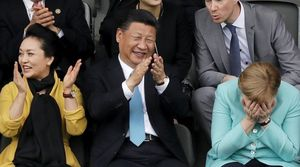 همنشینی دو غول اقتصادی جهان با جادوی فوتبال +عکس