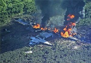 عکس/ 16 کشته در سقوط هواپیمای نظامی در «میسیسیپی»