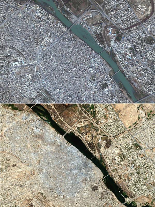 تصاویر ماهواره ای از  شهر موصل؛ قبل و بعد از حضور داعش