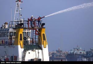عکس/ مهار آتش سوزی اسکله کنگان