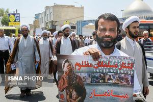 عکس/ راهپیمایی نمازگزاران قمی علیه جنایات در مسجد الاقصی و میانمار