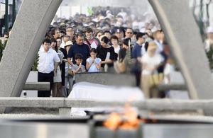 عکس/ مراسم یادبود قربانیان حمله اتمی هیروشیمای ژاپن