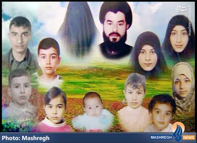 تمامی خانواده ی «شهید عادل محمد عکاش»: «عادل محمد عکاش»(۴۱ ساله) و همسرش «رباب یاسین»(۳۹ ساله) و فرزندانشان: «محمد باقر»(۱۸ ساله) ، «زینب»(۱۳ ساله)، «علی الرضا»(۱۲ ساله)، «غدیر»(۱۰ ساله)، «فاطمة الزهراء»(۷ ساله)، «محمد حسین»(۶ ساله)، «سارة»(۵ ساله)، «بتول»(۴ ساله) ، «نور الهدی»(دو ساله) و «صفاء» (۶ ماهه).