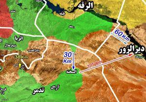 آخرین تحولات میدانی در حومه شهر السخنه؛ پاکسازی بخش شرقی جاده « السخنه - عقیربات» + نقشه میدانی