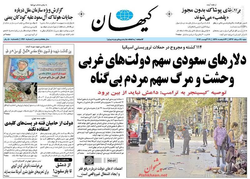 عکس/صفحه نخست روزنامه های شنبه ۲۸ مرداد