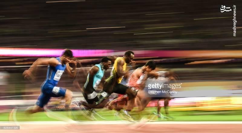 رقابت تفتیان سریعترین مرد ایران (با پیراهن ورزشی آبی) با سریع ترین مرد جهان یوسین بولت در لندن