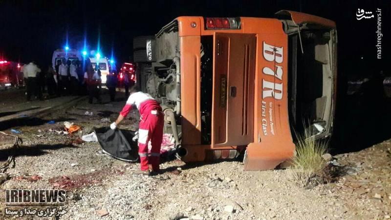 واژگونی اتوبوس حامل دانش آموزان در داراب