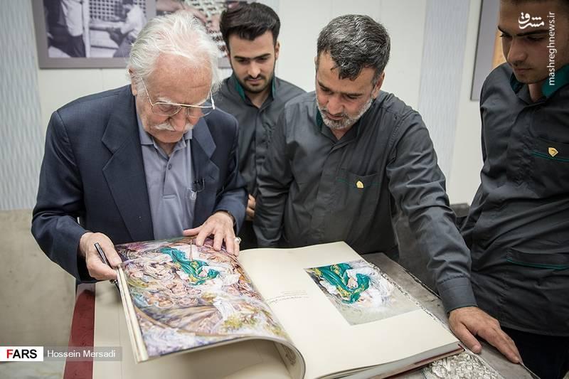 بازدید استاد فرشچیان از کارگاه ساخت ضریح حضرت عبدالعظیم(ع)