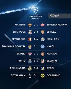 نتایج بازی های امشب لیگ قهرمانان اروپا
