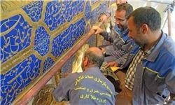 پیشرفت بازسازی ایوان و گلدستههای حرم علوی+عکس
