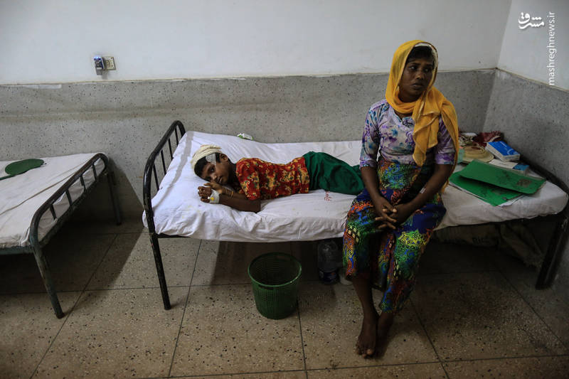 بستری شدن مجروحان میانماری در یک بیمارستان در بنگلادش