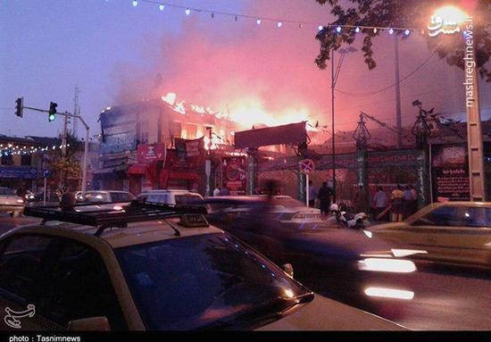 آتش سوزی تعدای از هیئت های شهر گرگان